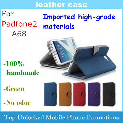 Leather Case for ASUS PadFone 2 A68 Flip case Imported high-grade materials 100% handmade(China (Mainland))