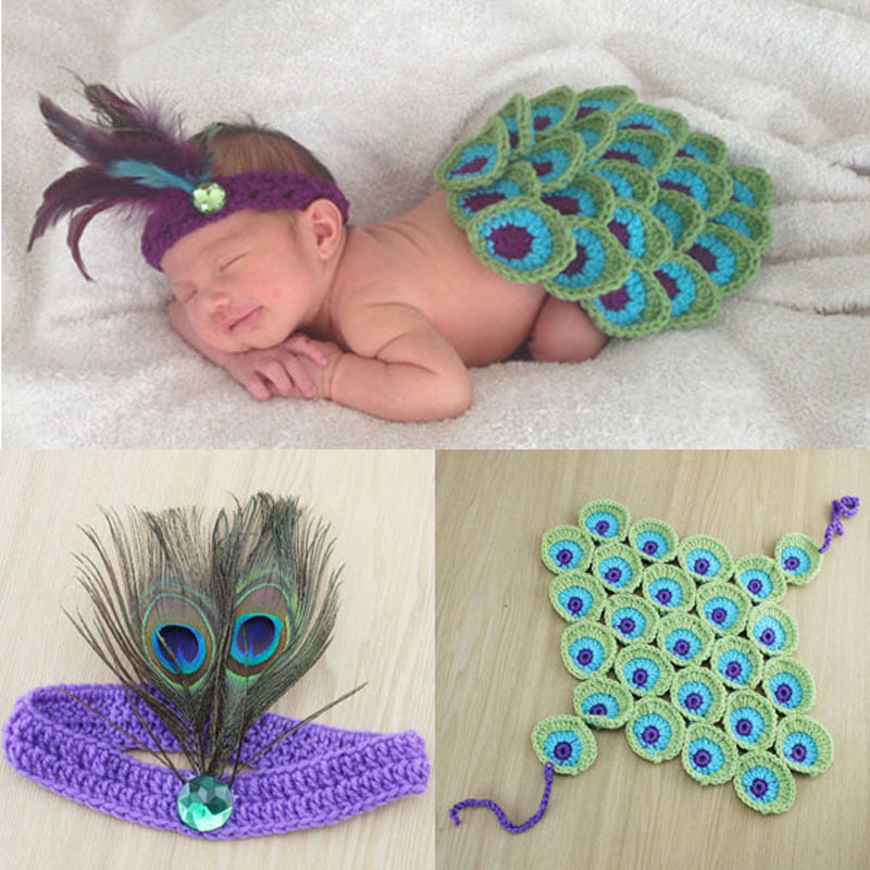 Peacock Style Baby Photography Props Newborn Toddler Cape with Feather Headband costume Crochet Animal Cloak outfit