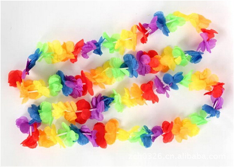 5pcs/lot 100cm wholesale party hawaiian flower leis artificial garland wreath cheerleading necklace decoration(China (Mainland))