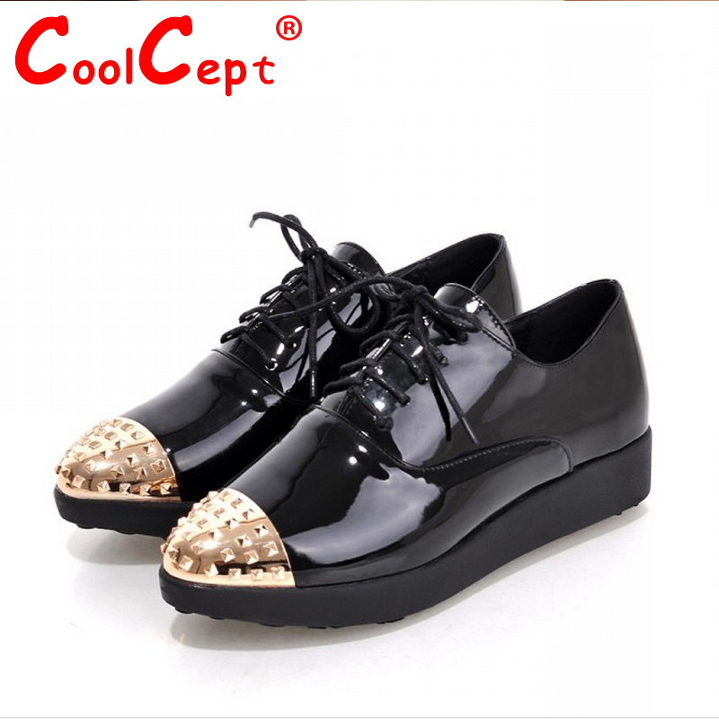 women high platform shoes patent leather star sneakers lady casual fashion wedge footwear heels shoes size 34-39 P16879<br><br>Aliexpress
