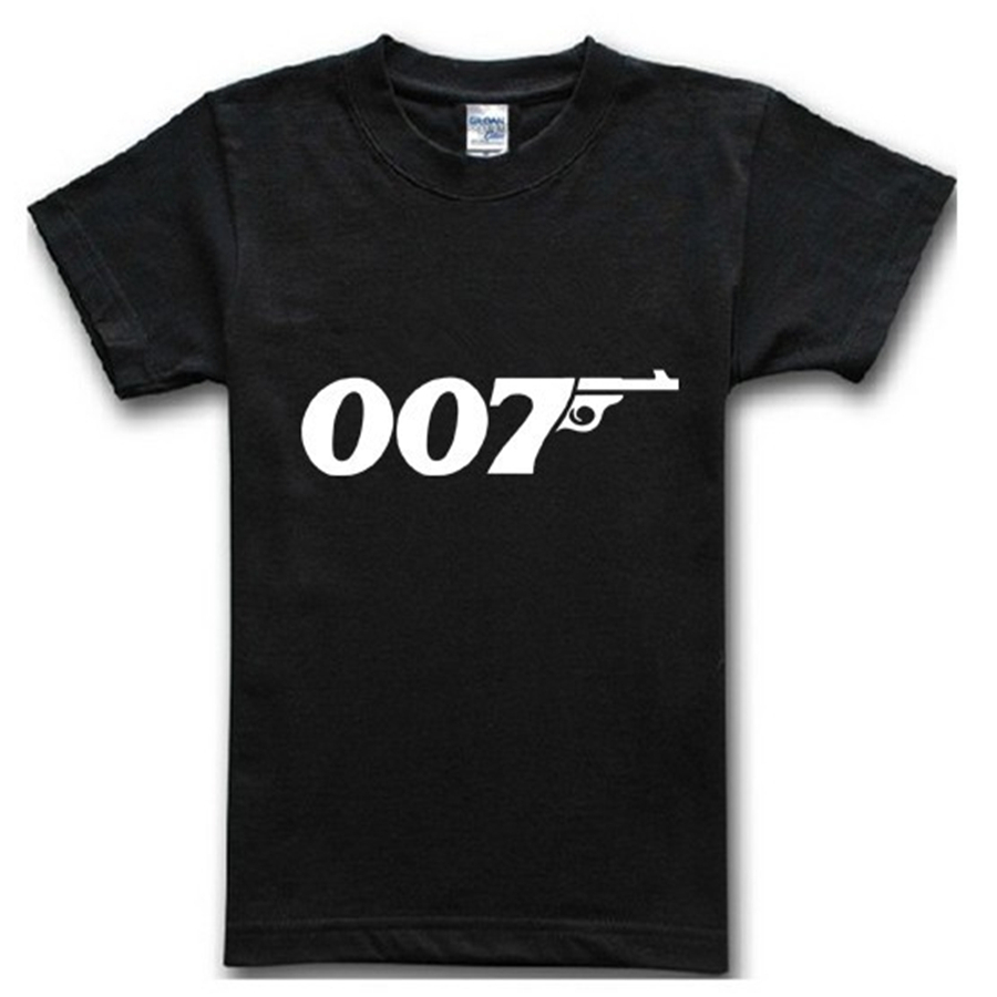 2015 top tee short sleeve summer man cotton t-shirt new brand famous movie film 007 James Bond print t shirt casual(China (Mainland))