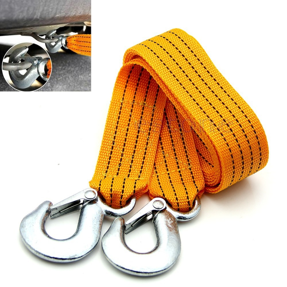 Free Shipping New 3 Tons Car Tow Rope Cable Towing Strap with Hooks Emergency Heavy Duty 3M(China (Mainland))