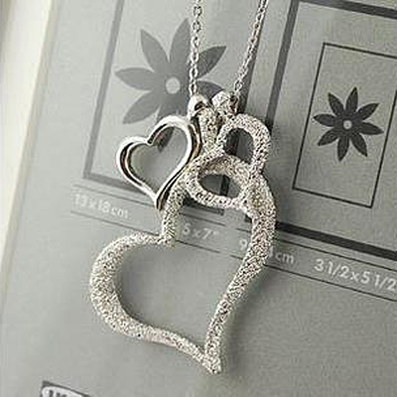 Three Heart Charm Necklaces Pendants Silver Crystal Love Hearts Necklace Fashion Jewelry Women Party Sweater Chains Necklaces(China (Mainland))