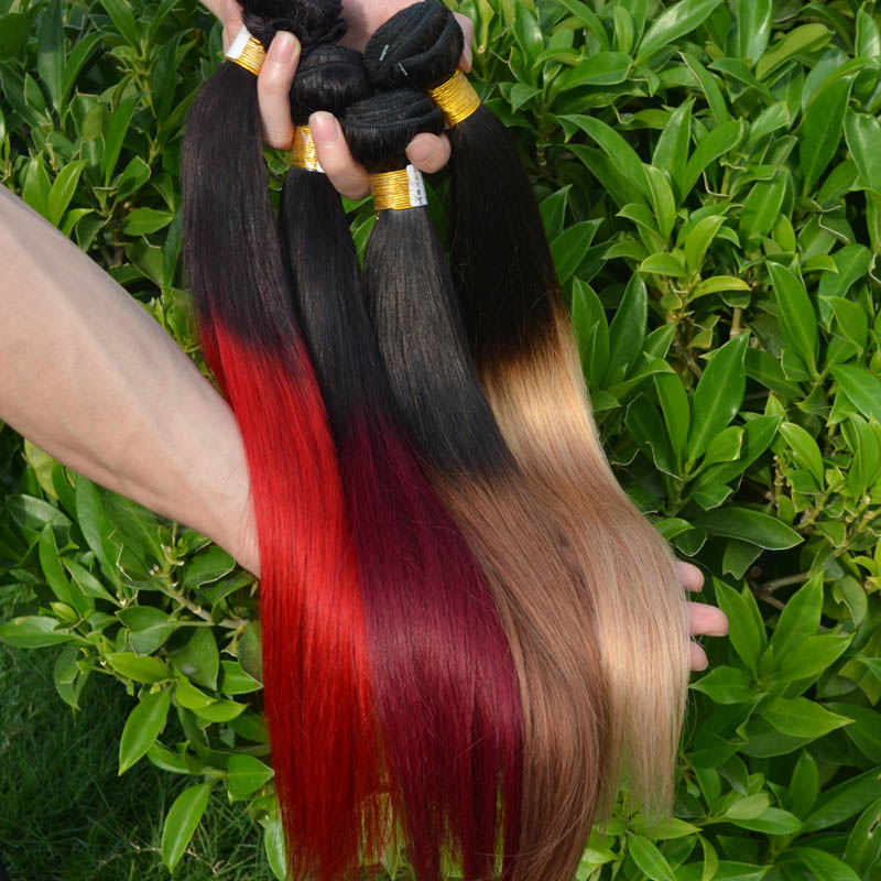Newness Cheap Peruvian Remy Hair 4 Bundle Deals Hair Extension Straight 7A Remy Human Hair Two Tone Ombre Hair Weaves Bundles(China (Mainland))