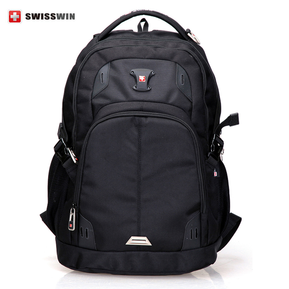 SWISSWIN  Black Cool Mens Backpacks Softback Nylon Double-Shoulder Laptop Backpack  Outdoor Casual Bag For Teenagers<br><br>Aliexpress