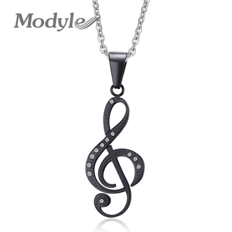 Modyle Musical Note Pendant Necklace Men Jewelry Trendy 18K Gold/Black Plated CZ Stone Necklace(China (Mainland))