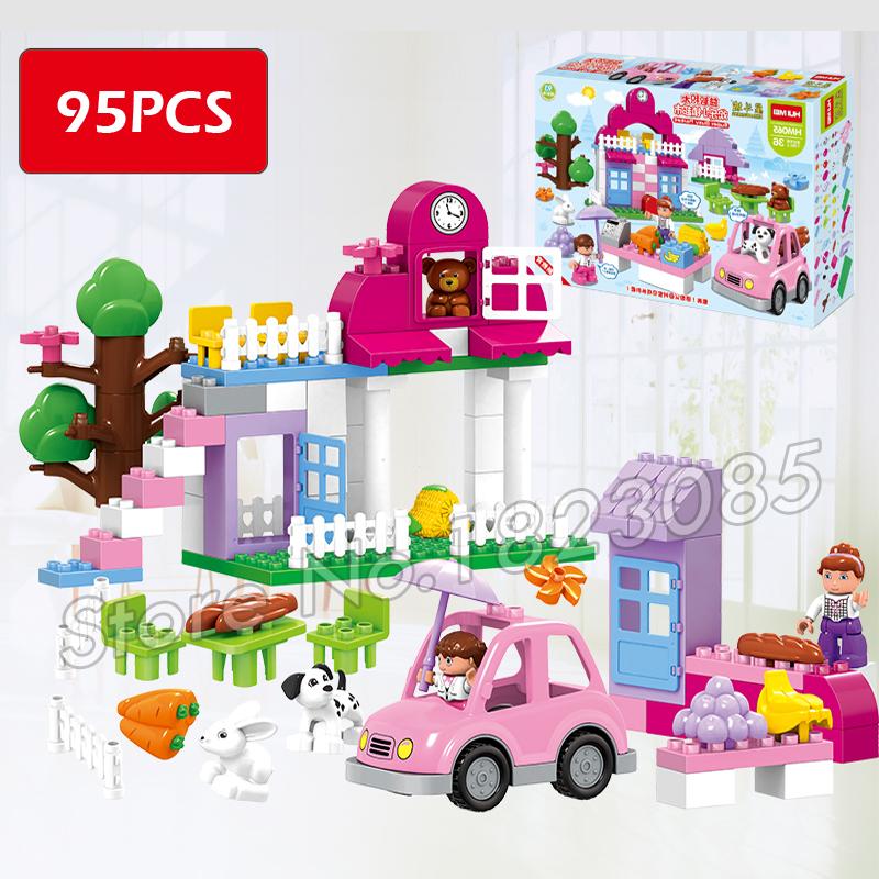 95pcs Big Size Princess Collection Super Busy Market Model Building Blocks Minifigure Bricks Kid Gift Compatible With Lego Duplo(China (Mainland))