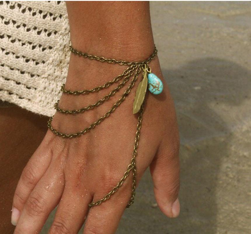 Bohemian Leaf Turquoise Slave Hand Chain Harness Charm Vintage Bracelets For Women(China (Mainland))