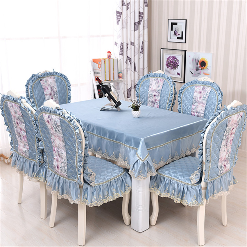 Europe Elegant Table Cloth Dining Chair Cushion Backrest Pastoral Gray Blue Tablecloth Set Luxury Home Textile Table Cloth Decor(China (Mainland))