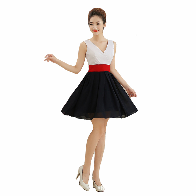 Sexy V Neck Short Evening Dress Patchwork Chiffon Evening