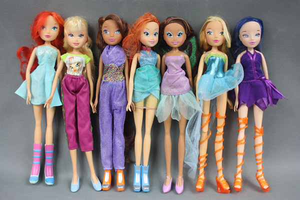 D0108 Wholesale price 30cm Winx Club Doll rainbow colorful girl lovely cute doll 5pcs/lot(China (Mainland))