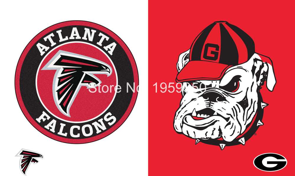 Atlanta Falcons vs Georgia Bulldogs Flag 3ft x 5ft Polyester Banner 90x150cm metal grommets(China (Mainland))