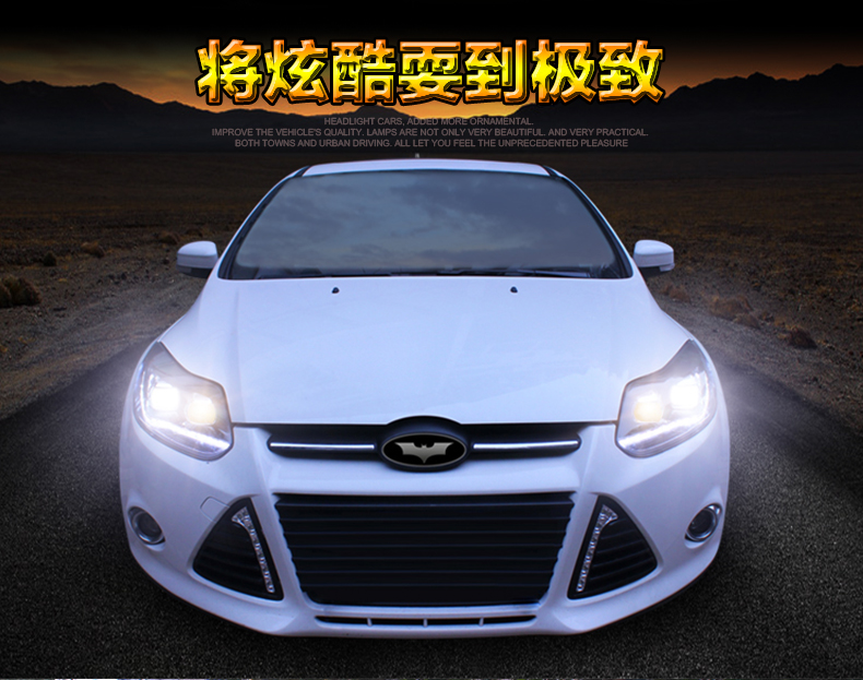 car styling For Ford Focus headlights U angel eyes DRL 2012-2014 For Ford Focus LED light bar DRL Q5 bi xenon lens h7 xenon