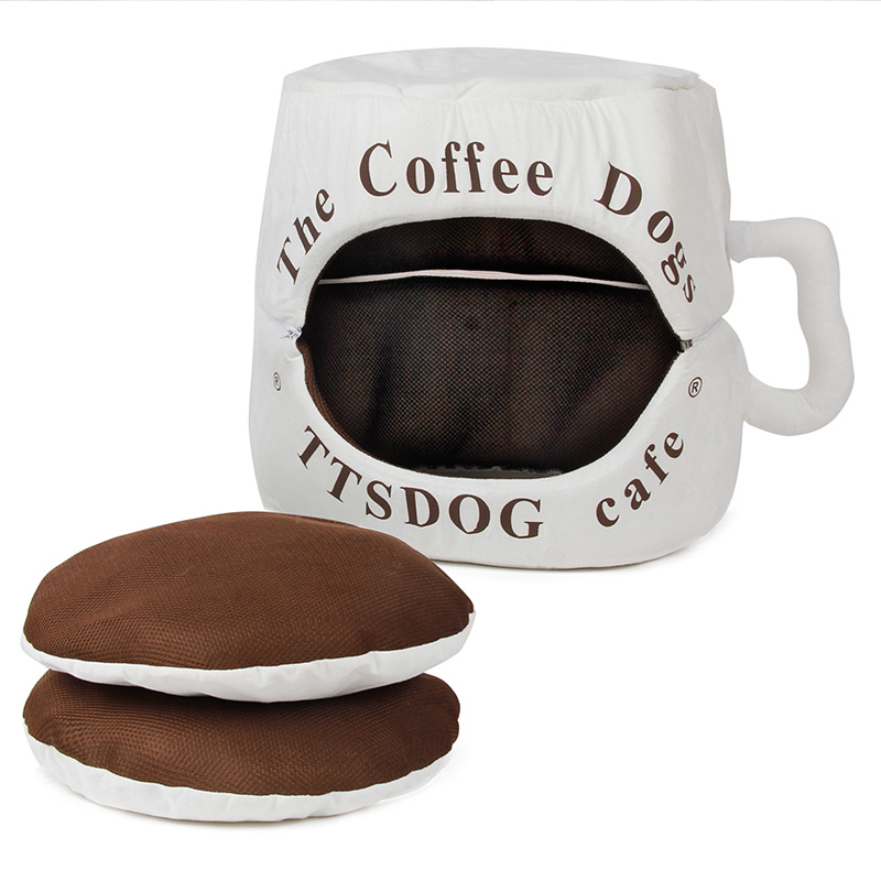Multifunctional Coffee Cup Shape Dog Bed Pet House Cat Warm House Soft Home Pet Bed Cute Nest For Puppy Used as Two Beds(China (Mainland))