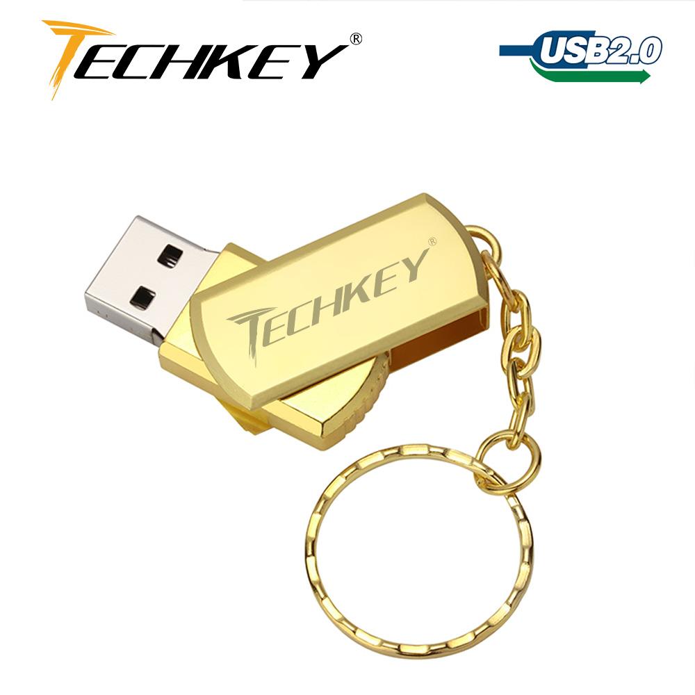 new usb flash drive 64GB TECHKEY pen drive 32GB metal small U Disk pendrive USB 2.0 memoria cel usb stick memory stick gift(China (Mainland))