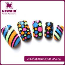 24pcs colorful pattern airbrush false nails art artificial fingernails shiny nail tips fashion full cover fake nails press ons(China (Mainland))
