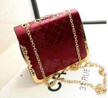 new arrive elegant women messenger bags bling women leather handbags chain and casual women clutch black white red blue and pink(China (Mainland))