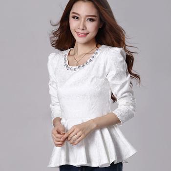 Autumn small beading rhinestone slim relief jacquard long-sleeve shirt women's Blouses free shipping
