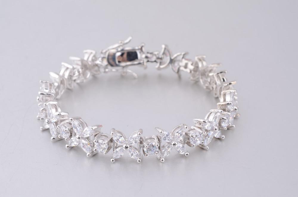 Fashion Luxury Famous Brand Wedding Jewelry Bracelets Bangles Women 2014 White Gold Plated Austrian Crystal Free Ship - Guangzhou High-End Leather Handbag store