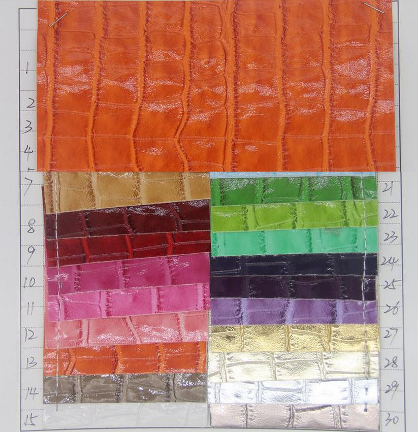 Factory wholesale cheap semi PU glossy crocodile artificial leather fabric high quality synthetic leather material(China (Mainland))