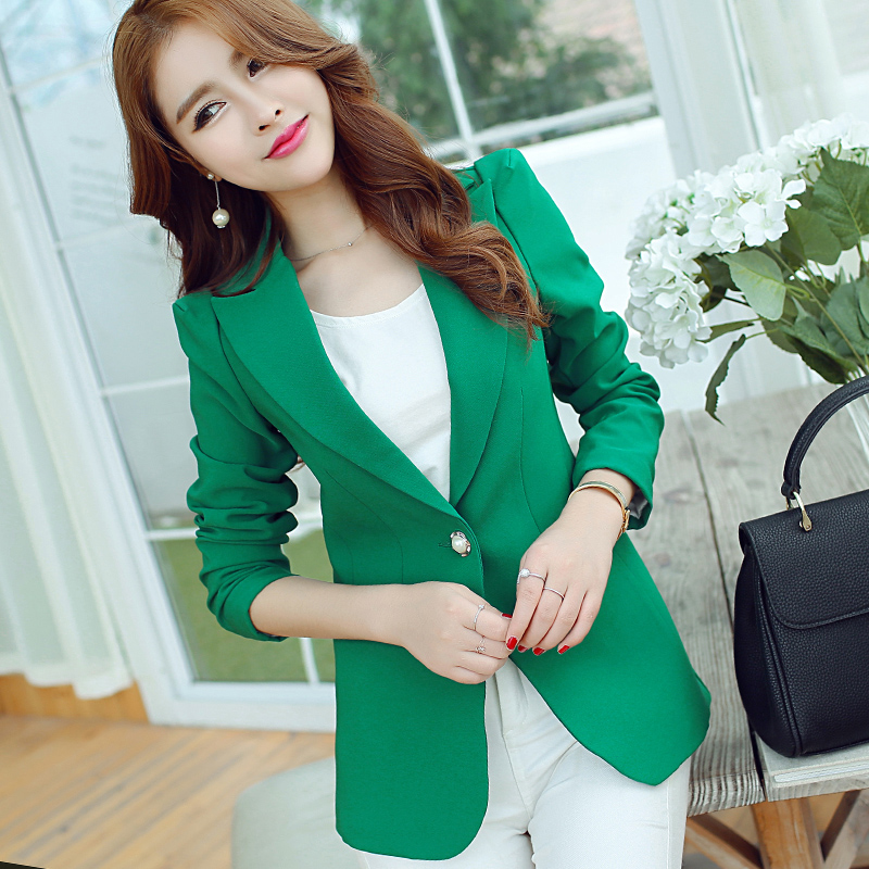 2016 Autumn Winter outerwear New Fashion blazer  Women coat Slim long-sleeved one button Blazer  FQ021