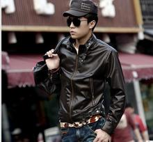 New Men's Spring And Autumn Clothing Slim Oblique Zipper Motorcycle pu Leather Outerwear Male Short Design Jacket #562950(China (Mainland))
