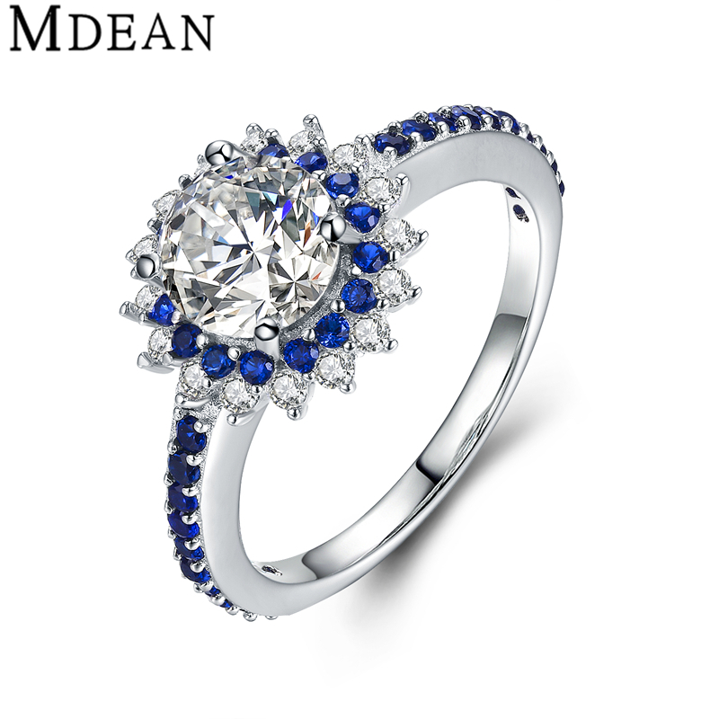 MDEAN Sapphire 925 Sterling Silver Jewelry Pure Solid Genuine Round CZ Diamond Engagement Rings for Women Wedding Bague MSR460(China (Mainland))