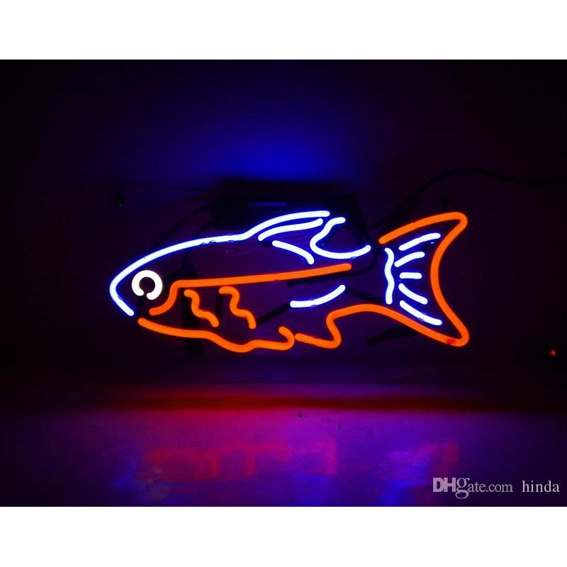 New Tat tire Neon Beer Sign Bar Sign Real Glass Neon Light Beer Sign TN 160 Tropical fish 15x10 blue red 001(China (Mainland))