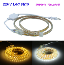 3014 led strip AC220V 5M 600leds IP67 waterproof outdoor garden light white/warm white with EU plug high brightness(China (Mainland))
