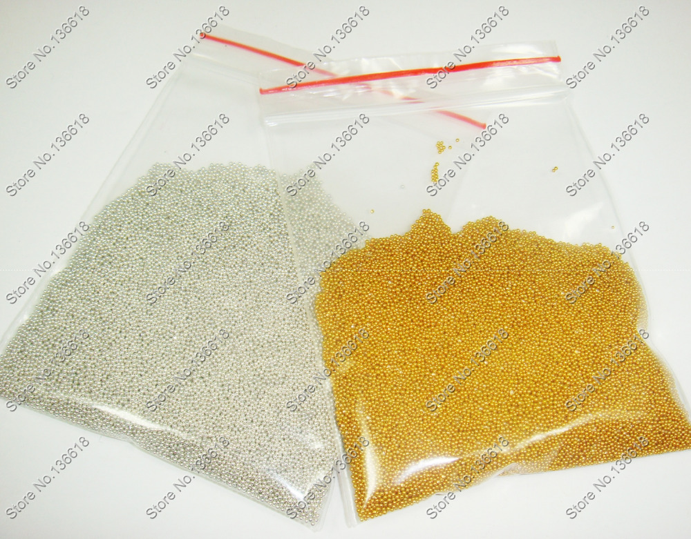 60gram x Gold & Silver Color Mini Small Plastic Caviar Beads for DIY Nail Art Decorations and Crafts(China (Mainland))