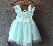 Mint / rose / blanc, Bébé filles trois fleurs dentelle épaule robe, Enfants jolie robe d'été, Lhq01(China (Mainland))