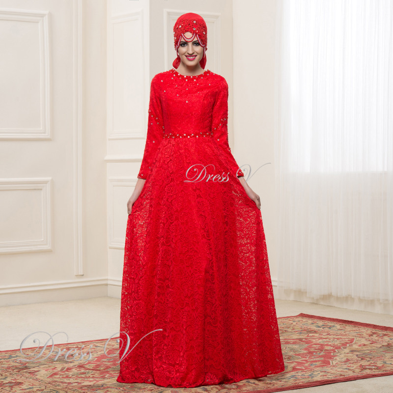 Elegant long sleeves muslim lace wedding dresses hijab red for Wedding dresses in dubai prices