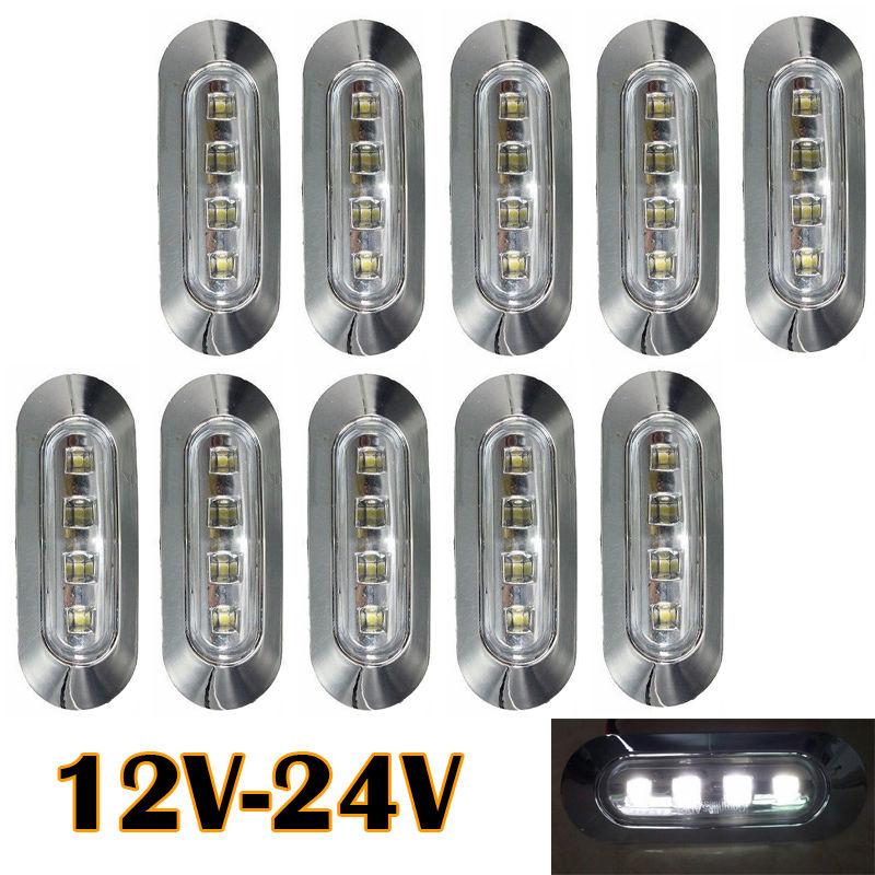 10 pcs 4 LED White Car Tail Side Light Clearance Marker Lamp Chrome Bezel 12V 24V free delivery<br><br>Aliexpress