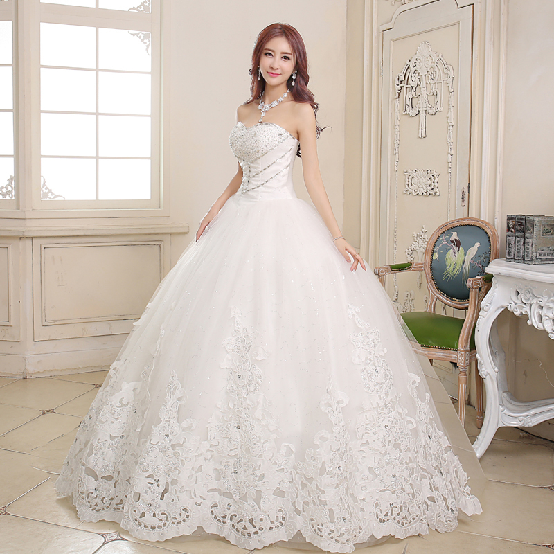 Peach girl new thin lace bridal gown 2015 korean princess for Wedding dresses for tall skinny brides