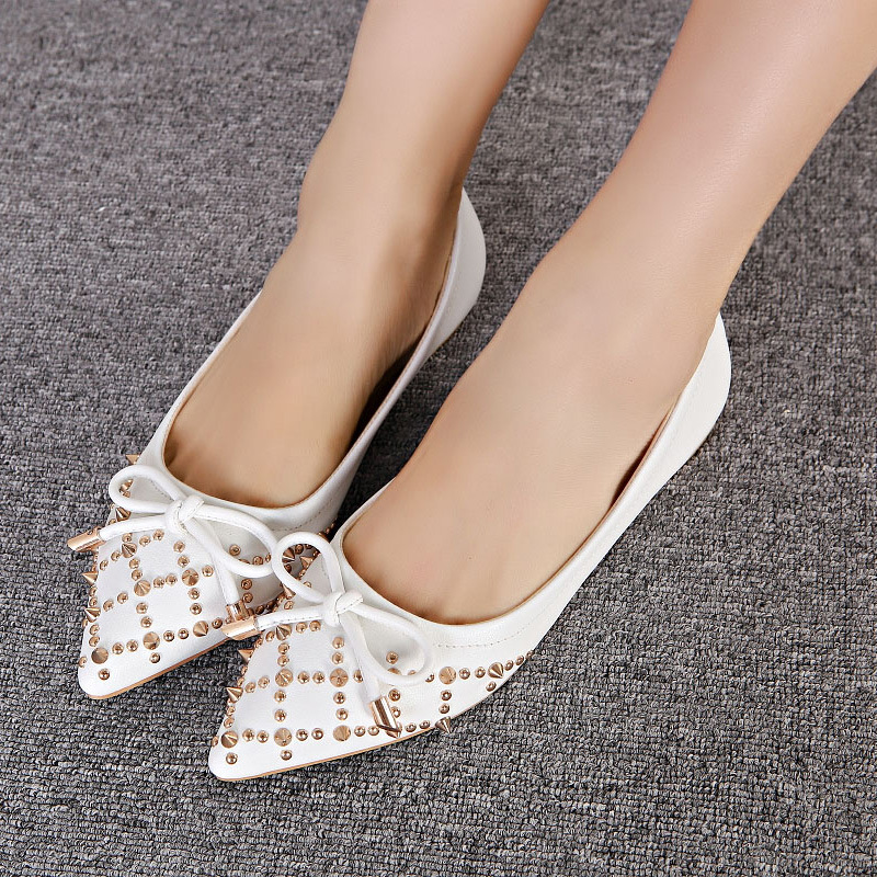 2015 new spring sweet butterfly knot decorative straps with flat pointed shoes female tide