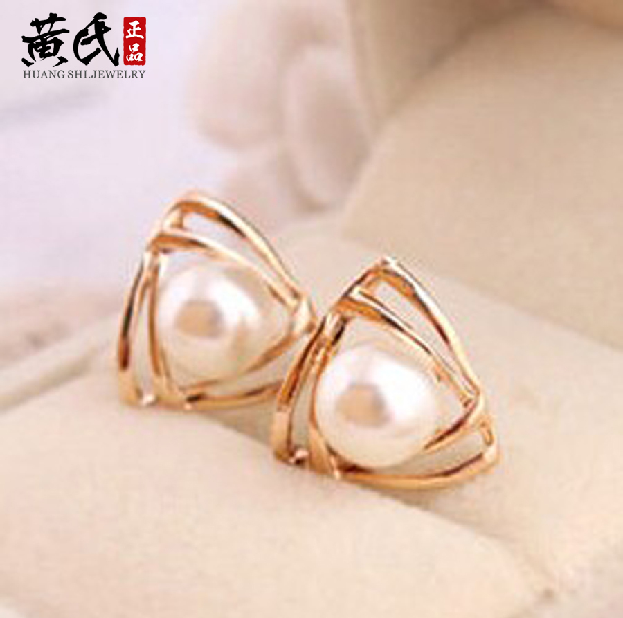 2016 New hot selling Elegant charming tone triangle white pearl ear stud earrings gift well, party girl lady women(China (Mainland))