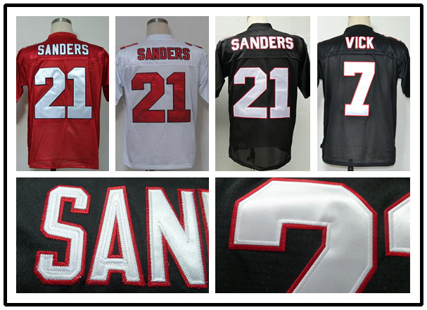 #21 Deion Sanders #7 Michael Vick jersey Authentic Throwback American Football Falcons Jersey cheep rugby jersey(China (Mainland))