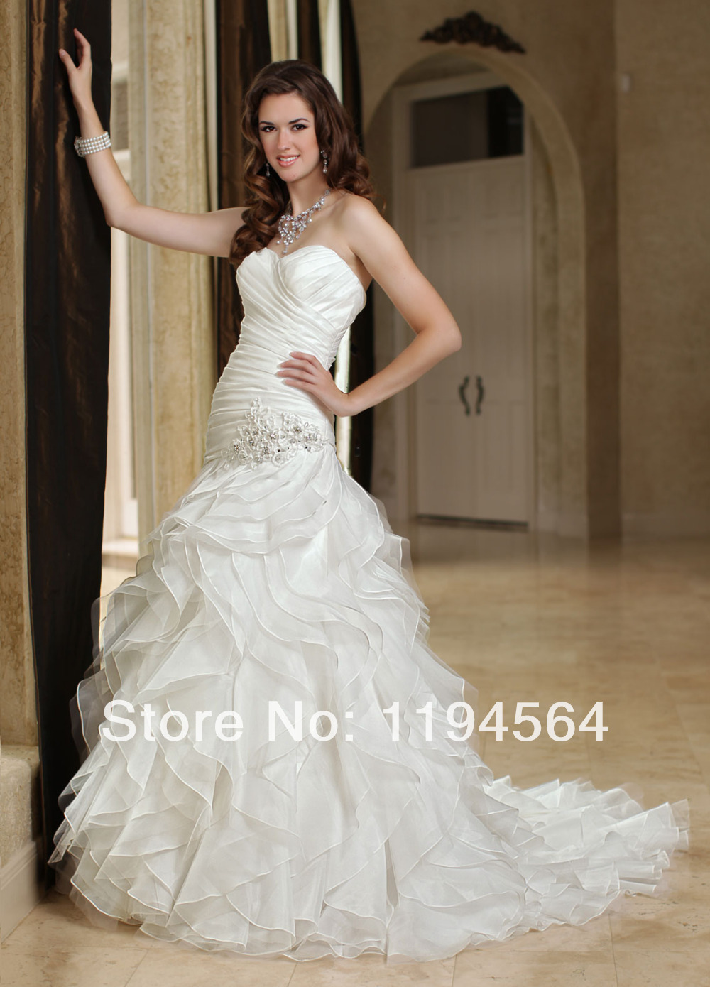 New Fashion 2014 White Organza A Line Sweetheart Bridal Gown Ruffles and Appliques Wedding Dress Patterns Free Shipping WH1328(China (Mainland))