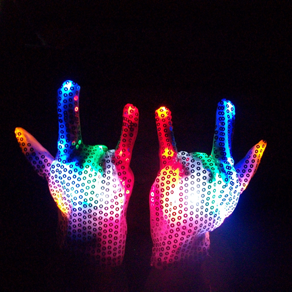 7 Colors LED Sequined Gloves Wedding Rave Finger Lighting Party Decorations Christmas Flashing Glow Mittens(China (Mainland))