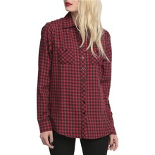 2016 Autumn shirt New Fashion women Plaids check shirts Skull Printed hollow back shirt Pop Girl Button Down Shirt Pockets