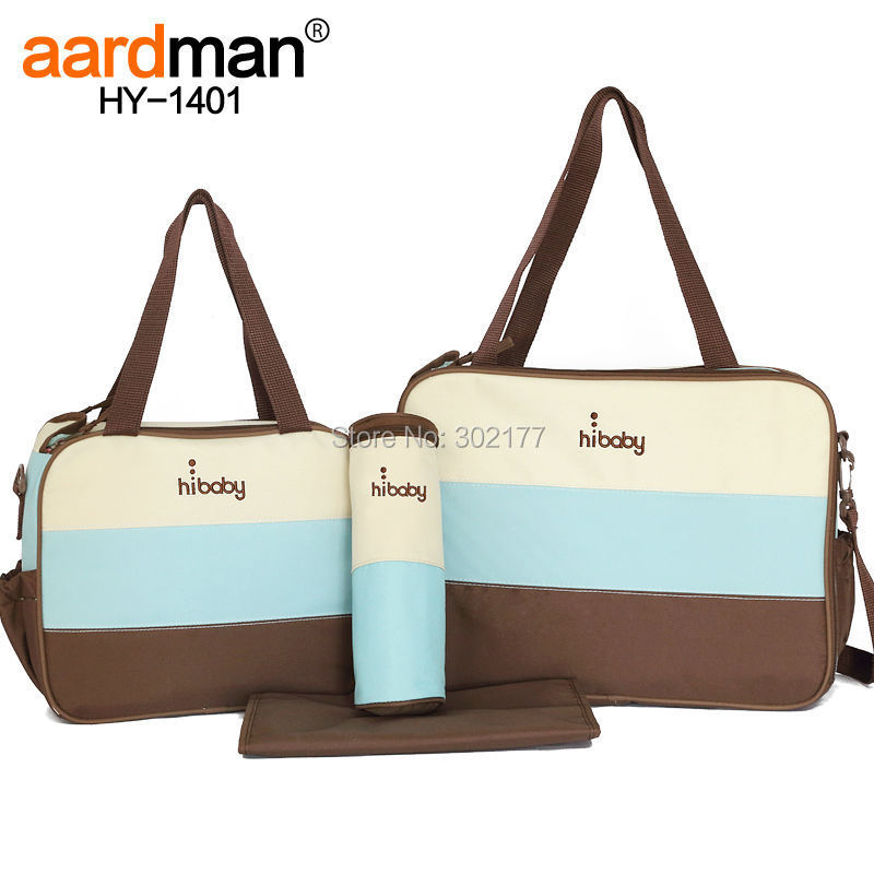 2015 New 4pcs 3colors Hot sale free shipping aardman waterproof 300D Baby diaper nappy hand bag for mothers HY-1401(China (Mainland))