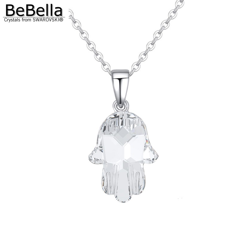 Genuine BeBella crystal fatima hand pendant necklace made with crystals from Swarovski and rhodium plated chain 2016 brand new(China (Mainland))