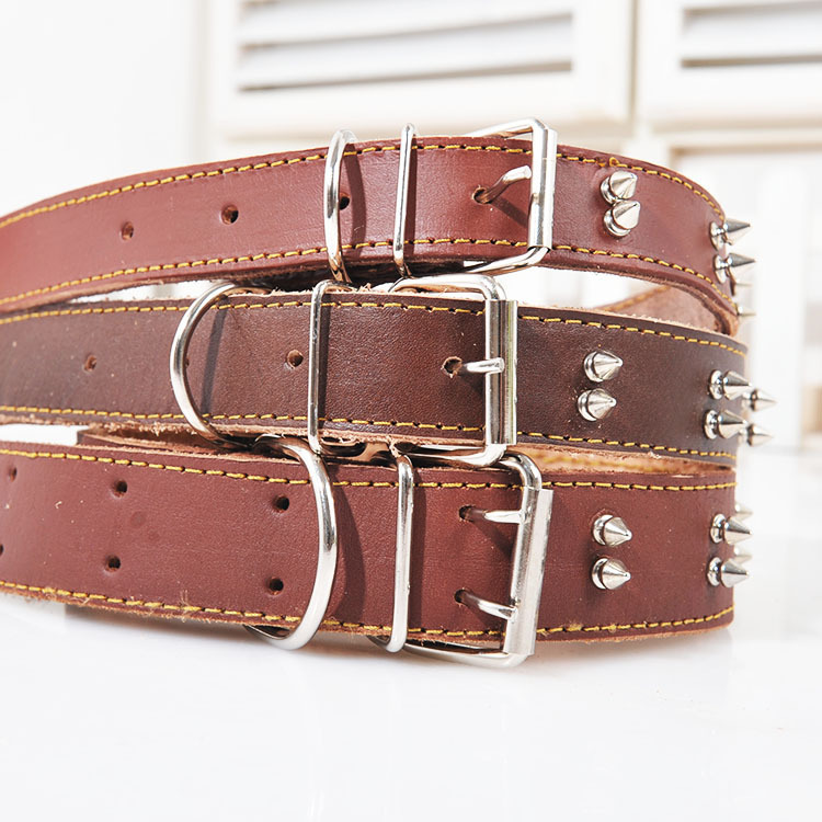 Special double spiked dog puppy pet collar large leather collar for large golden retriever dog(China (Mainland))