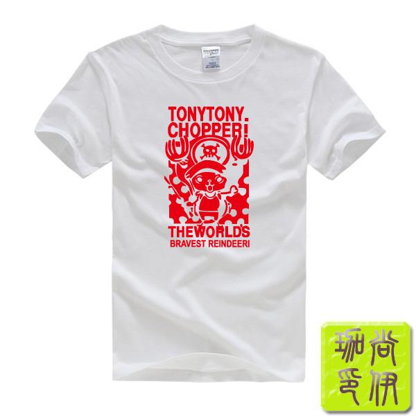 One Piece Tony Tony Chopper Luffy Printed Mens Men T Shirt Tshirt Fashion 2015 New Short Sleeve O Neck Cotton T-shirt Tee(China (Mainland))