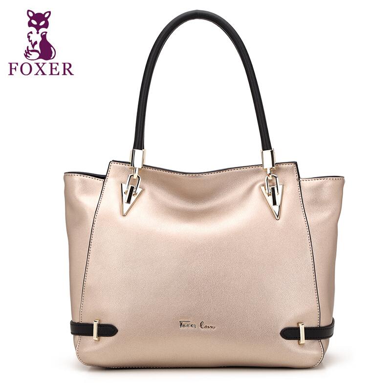 FOXER 2016 Fashion Brand Handbags Top Quality Genuine Leather Bag Vintage Commuter Women Totes Cowhide Women Shoulder Bags<br><br>Aliexpress