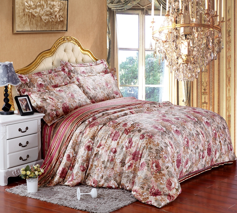 Egyptian cotton floral flower luxury bedding sets king for Luxury cotton comforter sets