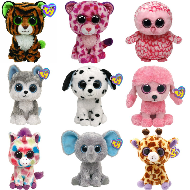 free shipping 5 pcs/lot 15cm TY Beanie Boos Plush Animals Plush Toys.Ty Big Eyes Soft Toys for Children christmas Kids Toys(China (Mainland))
