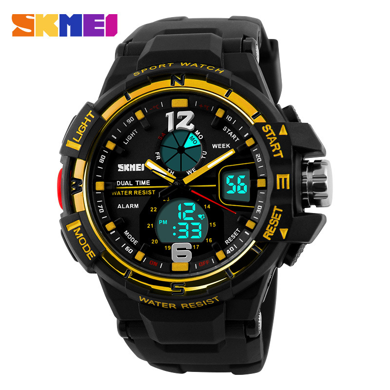 2016 SKMEI Mens Dual display Digital Watch Chronograph Sports Watches Fashion Casual Large dial Pu strap Students Wristwatches<br><br>Aliexpress