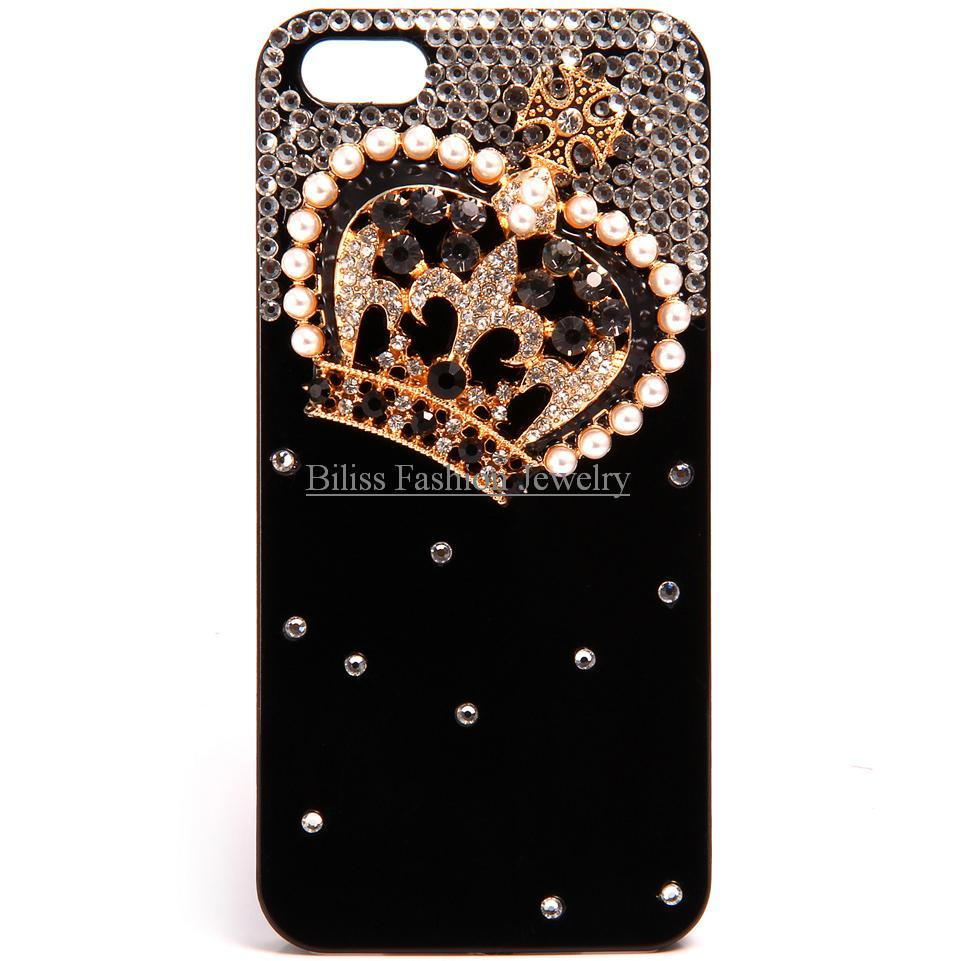 Luxury Crown Rhinestone Simulated Pearl Back Cell Phone Cases Shell Protective Cover for Iphone 5 / 5S -2 Colors(China (Mainland))