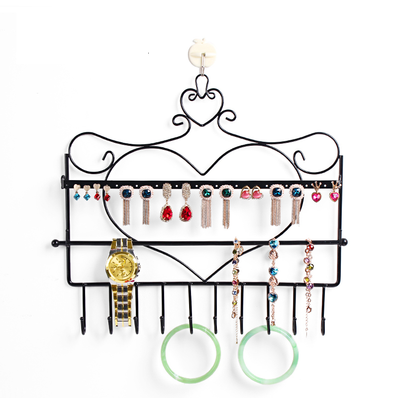 Free shipping Wrought iron wall mounted frame earring necklace holder bronze accessories storage rack jewelry plaid display rack(China (Mainland))